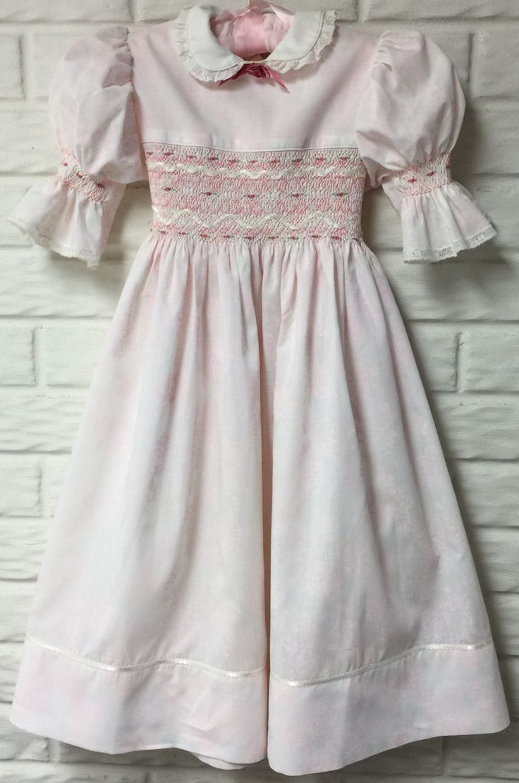 Girls English Smocked Easter Dress Light Pink and White Floral fabric Size 8-10  https://www.etsy.com/listing/263198636/girls-english-smocked-easter-dress-light Ribbon Embellished Rosebud Embroidery by LondasCreativeSewing on Etsy