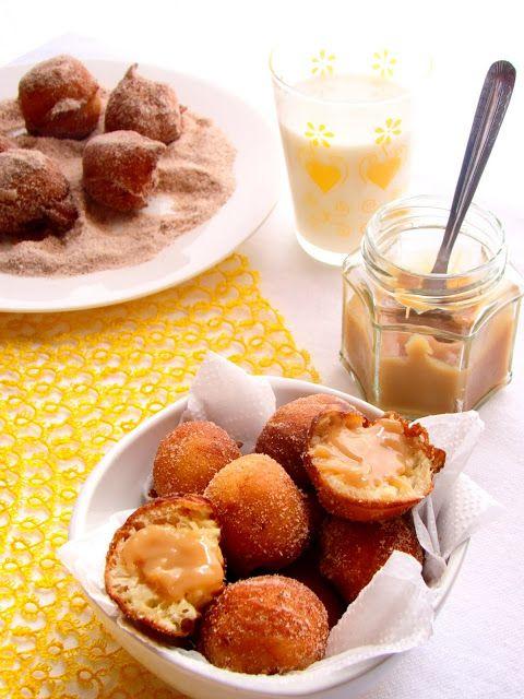 Sweet Secrets de Lulu: Mini Cinnamon Sugar Doughnuts cheio de caseiro Dulce de Leche - Bolinho de Chuva Recheado com Doce de Leite