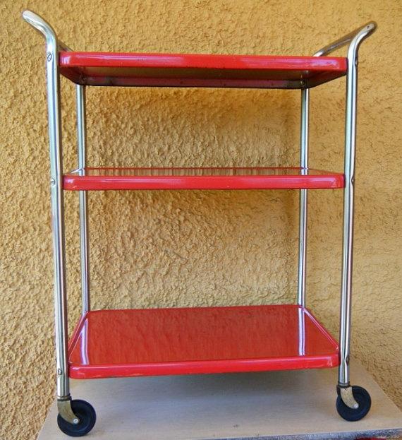 Vintage Retro Red Metal Rolling Kitchen Utility Cart