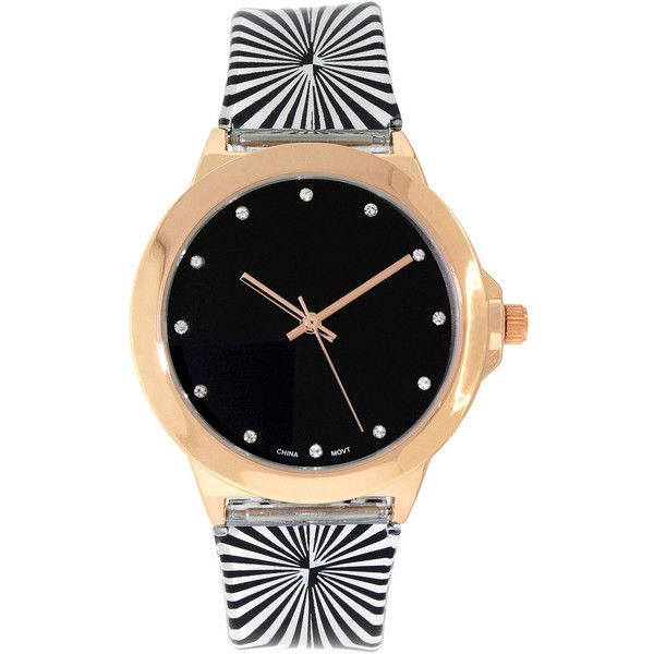 Womens Rose Gold-Tone Stripe Strap Watch ($15) ❤ liked on Polyvore featuring jewelry, watches, buckle watches, rose gold tone jewelry, dial watches, buckle jewelry and plastic watches