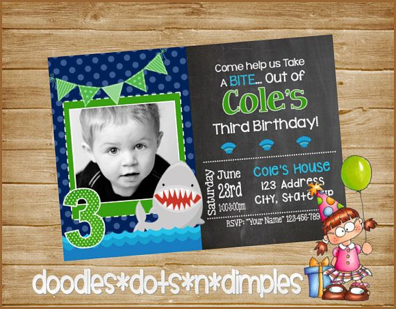 Personalized  Digital Boy's Shark Birthday Invitation