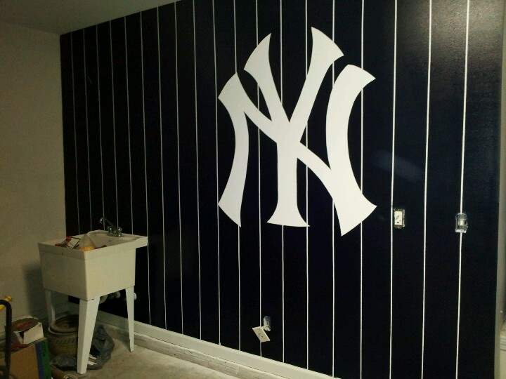 Ny Yankees Logo On Garage Wall Baseball Bathroom Boys