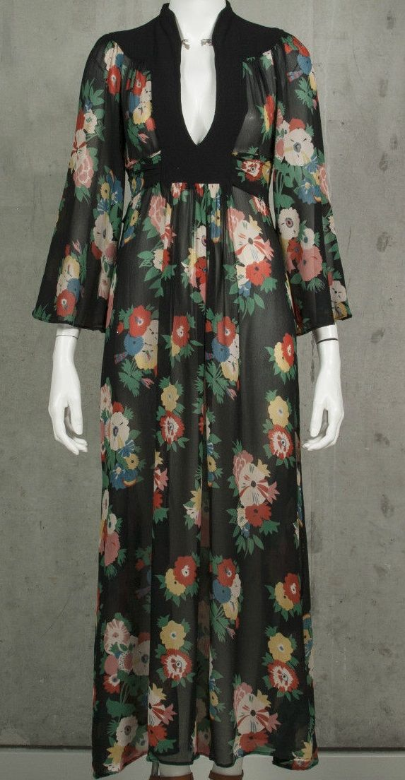 Vintage floral crepe Ossie Clark for Radley plunging dress with Celia Birtwell print