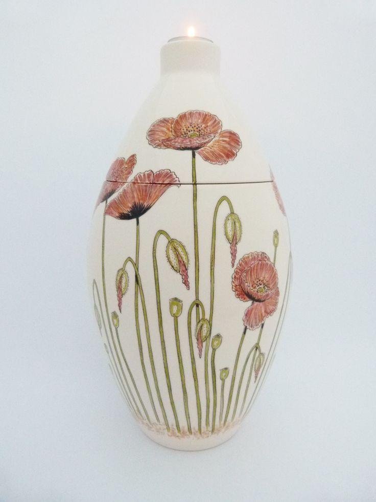 Hand painted cremation urn - Poppies - Phoenix Urns