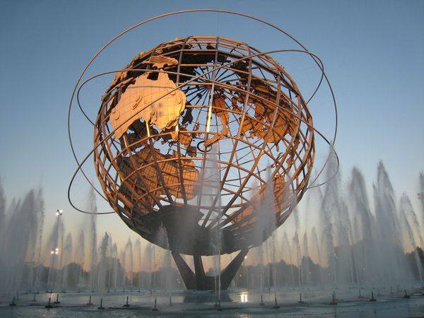 "The Unisphere - Queens, New York City, USA     Flushing Meadows-Corona Park in Queens, New York. The Unisphere was constructed as the symbol of the 1964/1965 New York World's Fair, whose theme was ""Peace Through Understanding"", and represented the idea of global peace and interdependence. The construction is 140 ft (50 m) high, 120 ft (37 m) in diameter and weighs 900,000 pounds (408 tons)."