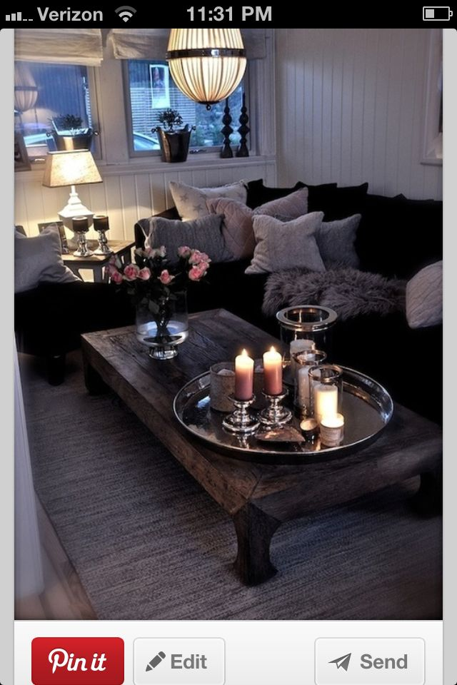 Romantic Living Room, Dark Floors, Dark Couch, Wood, Steel, Mirrors And
