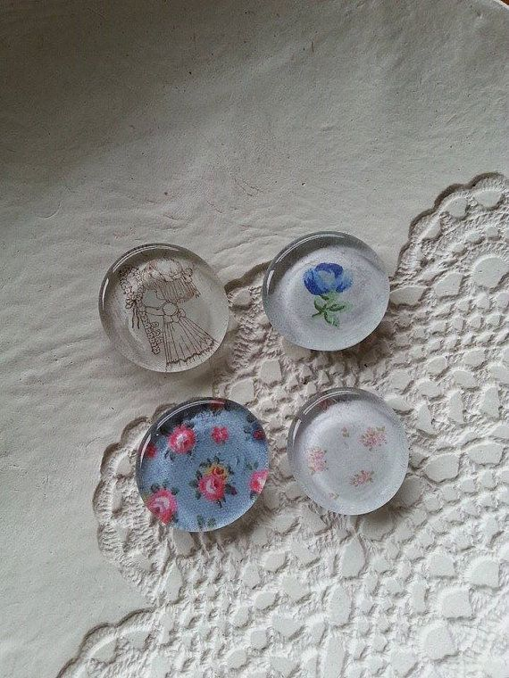 Set 4 Recycled Paper Glass Magnets Floral Set by Pennylanecraft, $7.50