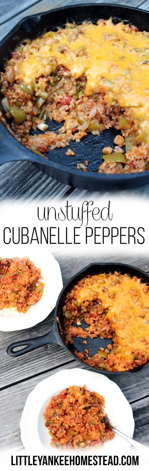 Unstuffed Cubanelle Peppers: an easy skillet recipe using sausage, cubanelle peppers, rice, and garlic scapes. || littleyankeehomestead.com