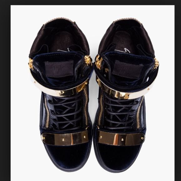 Looking for these Guiseppe Zanotti Sneakers Please not that these are navy and not black. Gold tone hardware, round toe, tonal lace up closure. Signature zip closures at eyerow and heel collar. Velcro straps (so cool!) Please let me know if you guys see these floating around anywhere Giuseppe Zanotti Shoes Sneakers