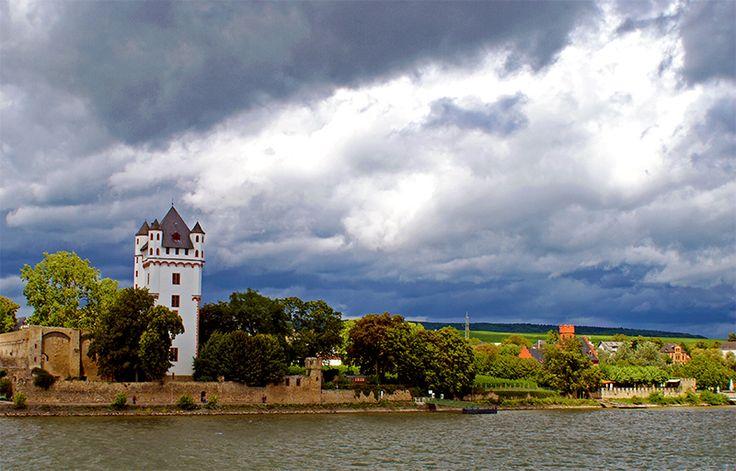 Eltville Castle overlooking Rhein river. Eltville am Rhein was said to be an old medieval town in the 1400's.