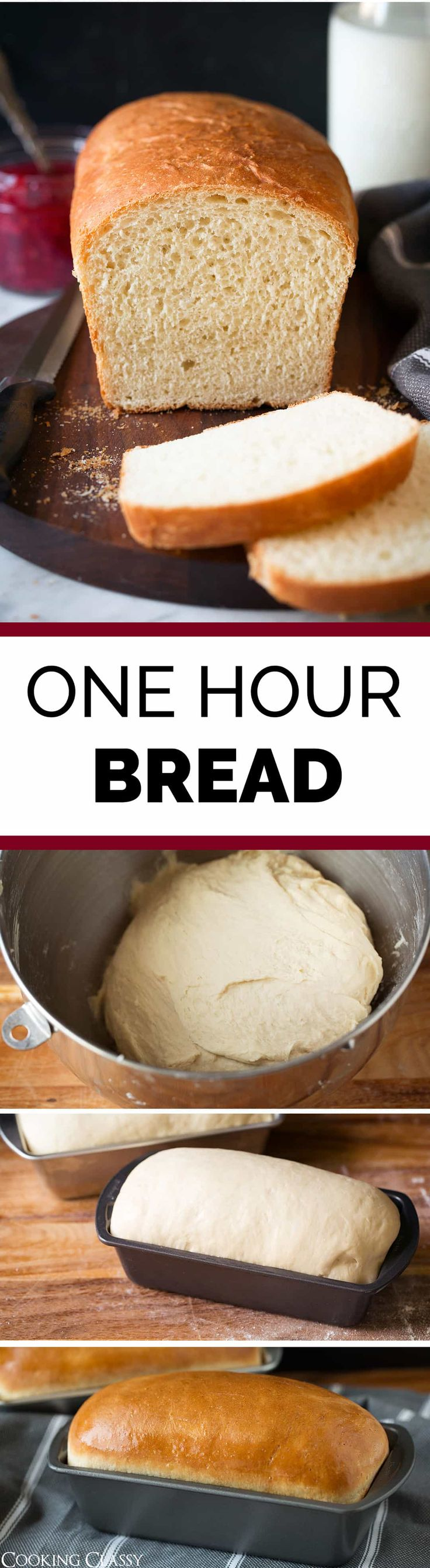 One Hour Bread - ready from start to finish in 1 HOUR! So easy, so fast and oh so delicious! Perfect for soup, sandwiches, and French toast. Via @cookingclassy #easy #onehour #bread #recipe