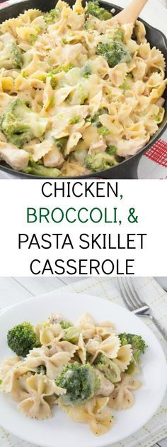 An easy and healthier chicken, broccoli, and pasta skillet casserole recipe. Ready under 30 minutes!