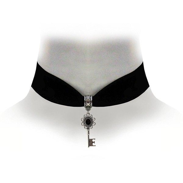 Victorian Vault Black Velvet Choker Steampunk Jewelry Gothic Jewel Key... ($15) ❤ liked on Polyvore featuring jewelry, necklaces, pendant necklace, goth choker, victorian pendant necklace, jewel choker and jeweled choker