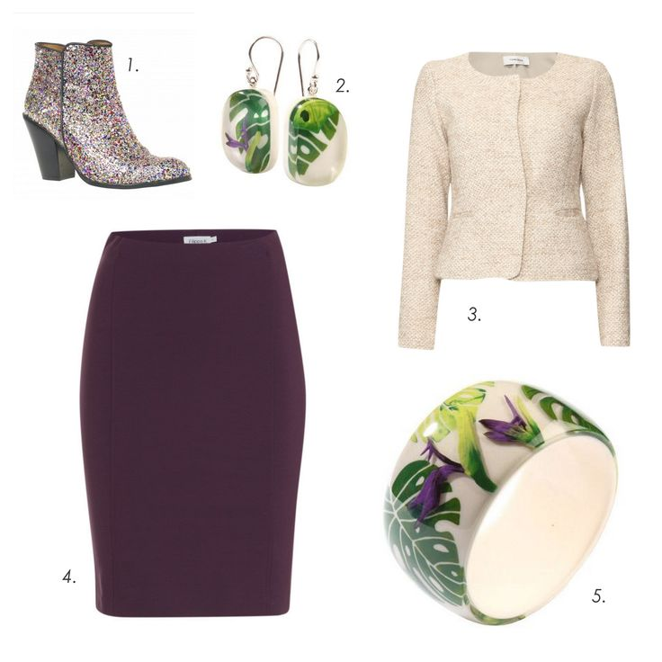 Lunch outfit #ZSISKA 1.Shoes: ByDanie 2.Earrings: Zsiska 3.Jacket: Turnover 4.Skirt: Filippa K 5.Bracelet: Zsiska
