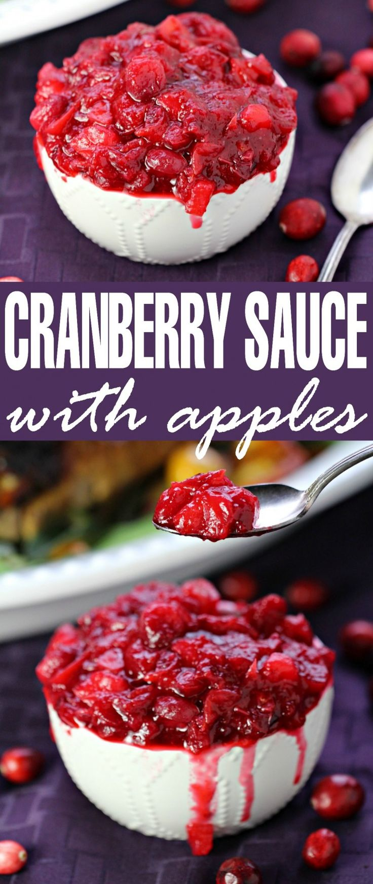Update your Homemade Cranberry Sauce with apples and spice for an easy twist on the classic Thanksgiving side dish. This would be great for Christmas dinner too!