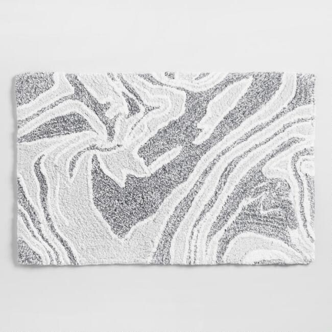 Gray Marble Tufted Bath Mat V1 Rugs In 2019 Grey