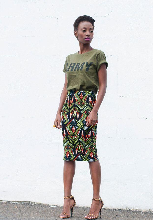 pencil skirt with t shirt african print skirt, ankara skirt