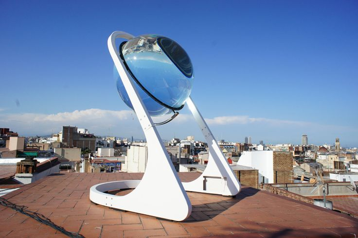 German architect André Broessel, of Rawlemon, has looked into his crystal ball and seen the future of renewable energy. In this case it's a spherical sun-tracking solar energy-generating globe — essentially a giant glass marble on a robotic steel frame. But this marble is no toy. It concentrat