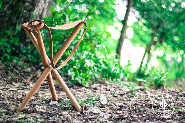 Foldable leather camping stool