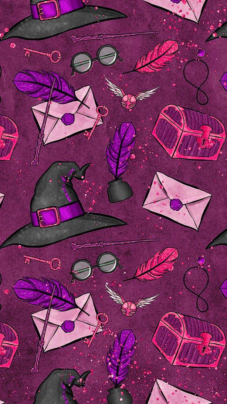 Harry Potter Potter Head Purple Phone Background Harry Potter Capsleri Harry Potter