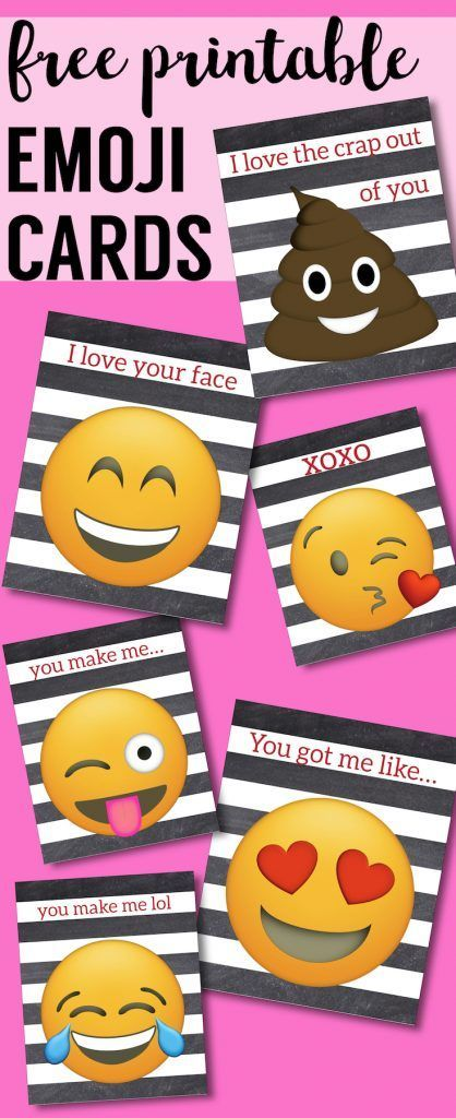 Free Printable Emoji Valentine Cards. Easy DIY emoji Valentine's Day cards. Kissy face emoji, poop emoji heart face and more. #papertraildesign #valentinesdayprintables #valentine #emojicards