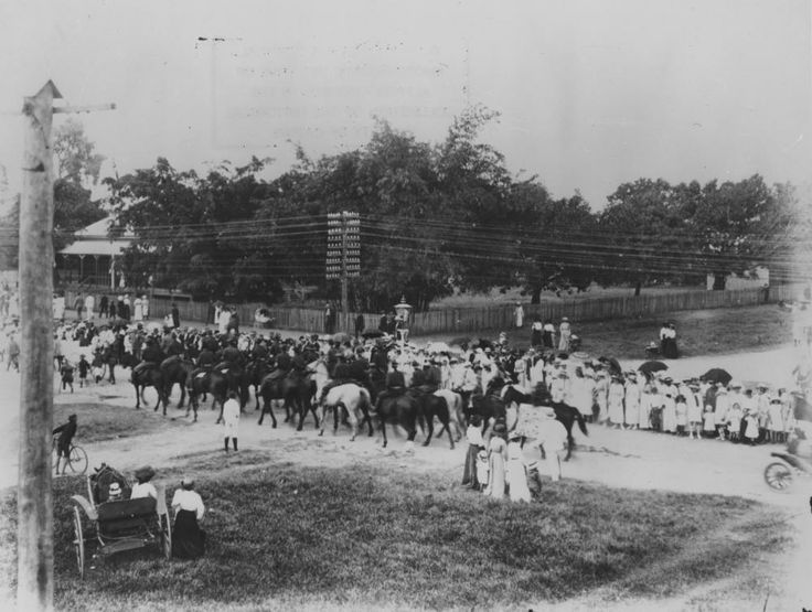 Procession in Cairns showing mounted police, ca. 1915