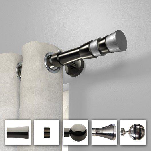Tringle à rideau extensible Chic black nickel brillant de 200 à 360 cm INSPIRE