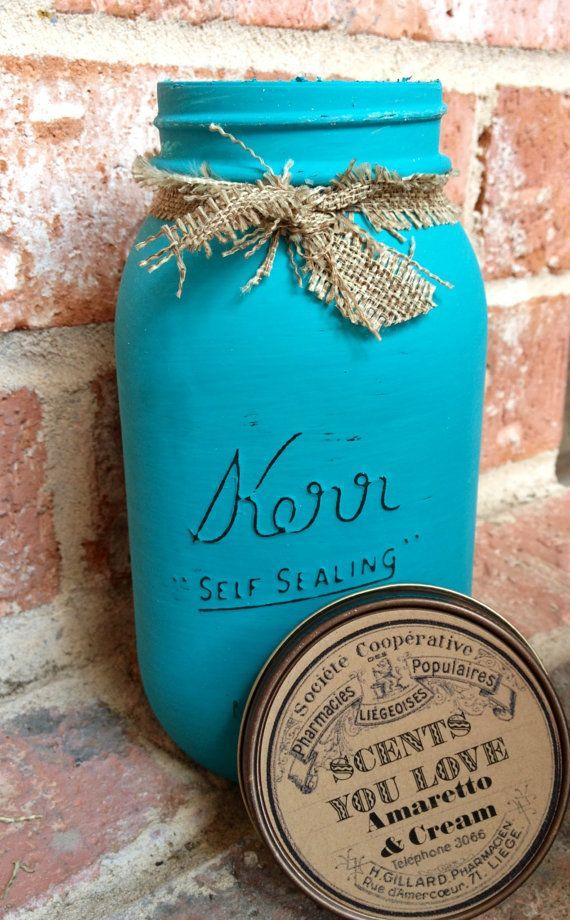 Kerr  Mason Jars Painted and Distressed on Etsy, $15.00