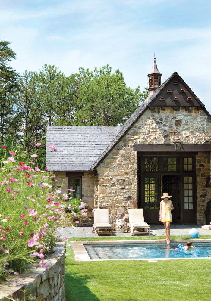 "This beautiful stone clad pool house was decorated by Phoebe Howard, saying ""An object has to be beautiful but it has to work for what it's intended"". So this cottage is practical and pretty ...photographed by Erica George DinesThat kitchen is just the sweetest, love so…"