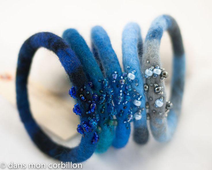 Bracelet bangles | laine feutrée, broderie de rocailles | By: Dans mon corbillon... | Flickr - Photo Sharing!