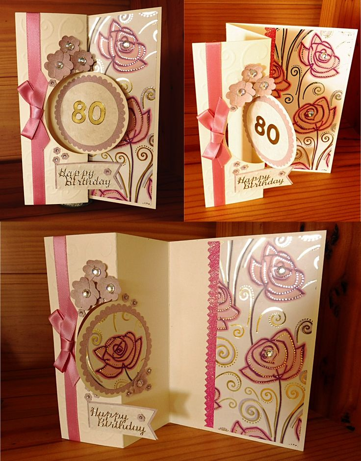 Circle flip card.  DIY handmade birthday card. I used rose printed gift-wrap paper as the background inside and also cut out a rose as the motif in the circle inside card.