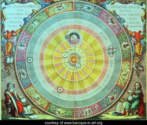 The Copernican System,'Planisphaerium Copernicanum', c.1543, devised by Nicolaus Copernicus (1473-1543) from 'The Celestial Atlas, or the Harmony of the Universe' - Andreas Cellarius - www.baroque-in-art.org