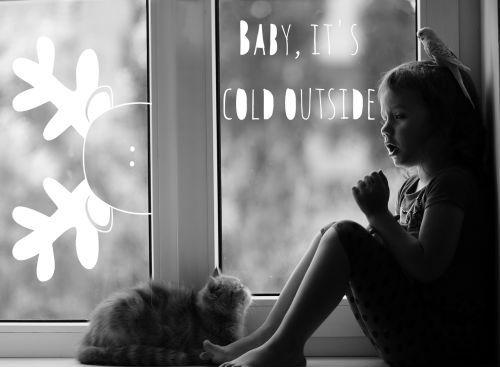 Krijtstifttekening winter quote Baby it's cold outside. In een paar simpele stappen op je raam. Incl DIY stappenplan & klein prijsje te downloaden.  #krijtstifttekening #raamtekening #raamdecoratie #raamversiering