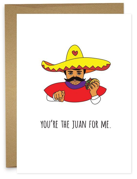 Muchas besos y tacos for you. • A6 folded card • blank inside • matching French Paper envelope