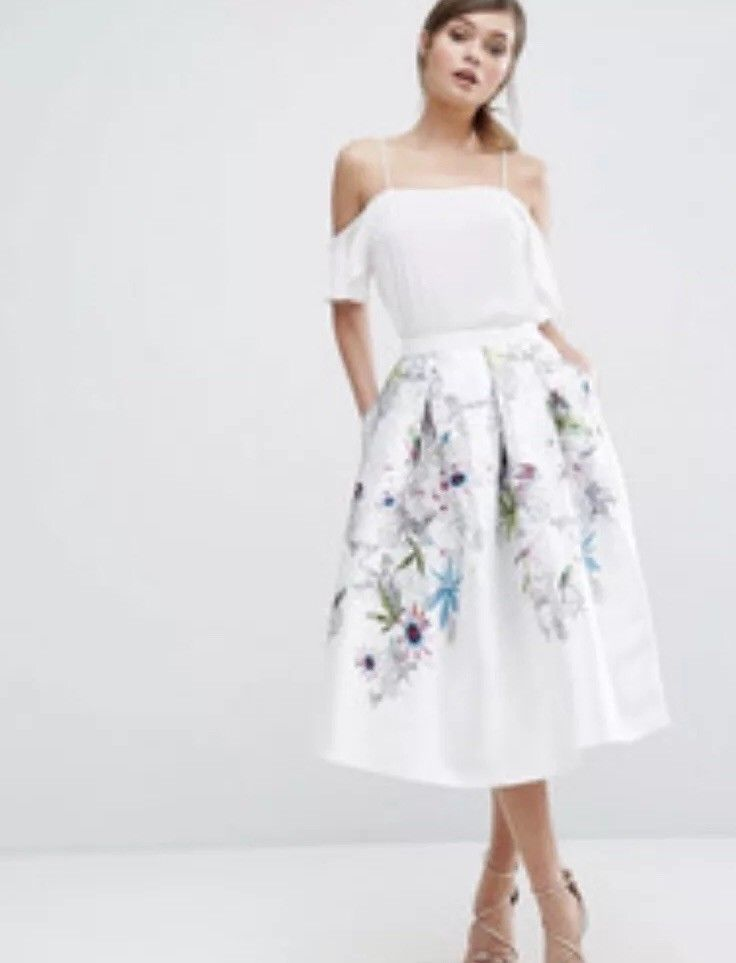 3a8aaecdf24 TED BAKER Ivory Petale Passion Flower Full Skirt UK10  fashion  clothing   shoes  accessories  womensclothing  skirts (ebay link)