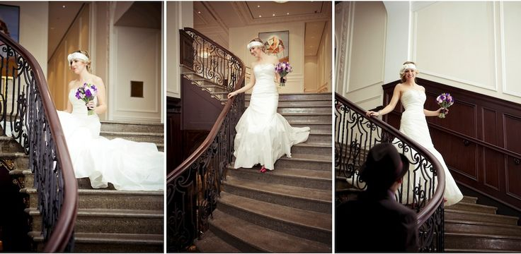 Yaletown First look coming down curved staircase at Hotel Georgia. Photographed by Nanaimo Wedding Photographer, Chuck Hocker of Etched Productions.
