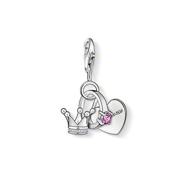 "THOMAS SABO Charm pendant ""princess"" with lobster clasp, 925 Sterling silver, pink syn. zirconia."