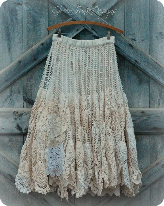 Long Lace Skirt Shabby Mori Girl Clothing by GreenTrunkDesigns