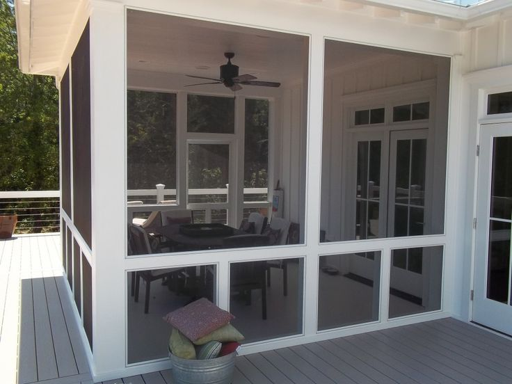 Living Room And Lounge, White Frame And Grey Glass Combine Wall Screened  Porch Ideas In
