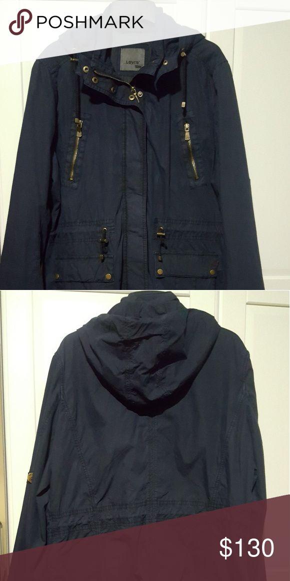 Women's Windbreaker Jacket Levi's XL, Dark Blue, with Removable Hood Levi's Jackets & Coats