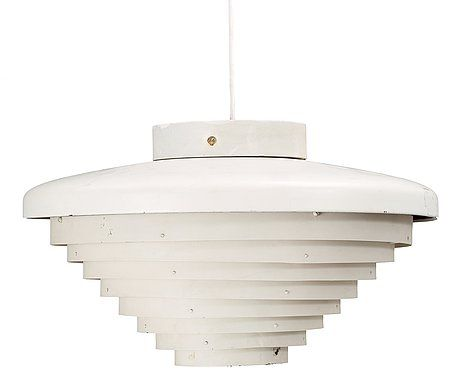 An Alvar Aalto white lacquered metal 'A 205' ceiling light, Valaistustyö Ky, Finland, probably 1950's.  Maker's mark. Height 22 cm, diameter 35,5 cm.  Some traces of rust, colour losses and dents.