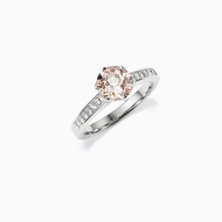 Petite Crown Solitaire ring with Morganite in 950 Platinum