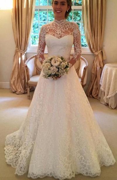 High Neckline Wedding Dresses,Long Sleeves Wedding Dress,Elegant Wedding Gowns,Wedding Dresses,A-line Wedding Dresses,Elegant Bridal Dresses from Charming Dressy