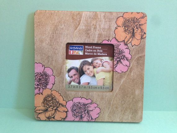 Colorful Wood Burned Peony Flower Picture Frame by ArtAndArrows, $15.00
