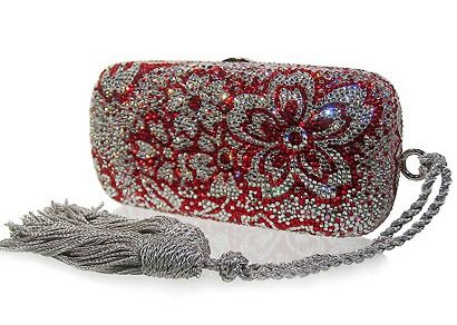 Judith Leiber clutch.  Red gems and diamonds in a floral pattern.  So fancy:-)