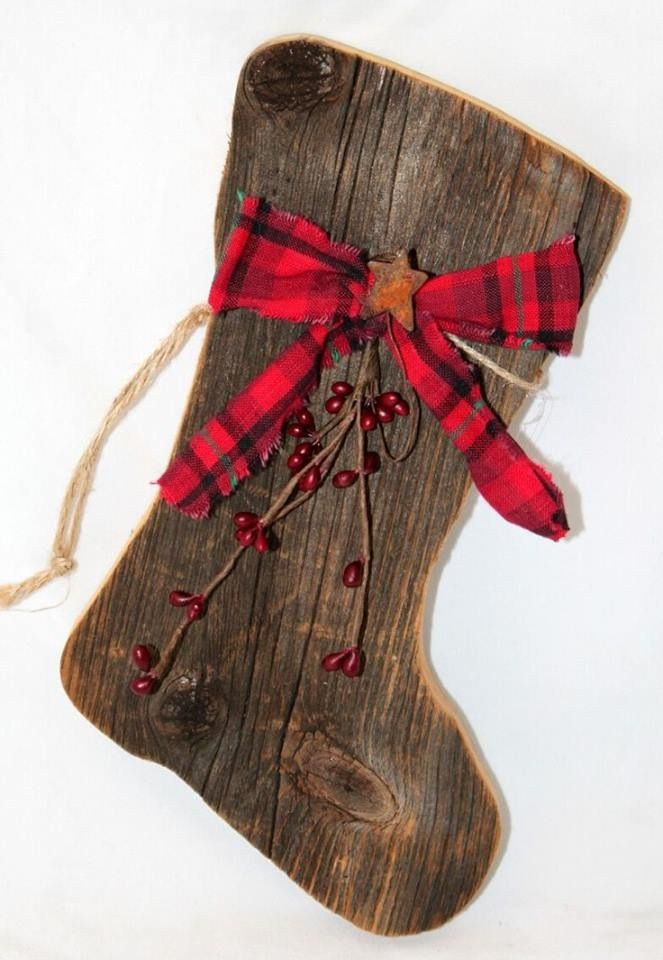 Wooden stocking Our primitive barnboard Santa boots