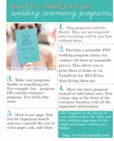 In today's 5 for 5, I'm offering suggestions on how to save money on the wedding ceremony programs (On the 5th day of every month, I share a downloadable infographic with my Top Five Budget Tips for a specific facet of wedding planning).