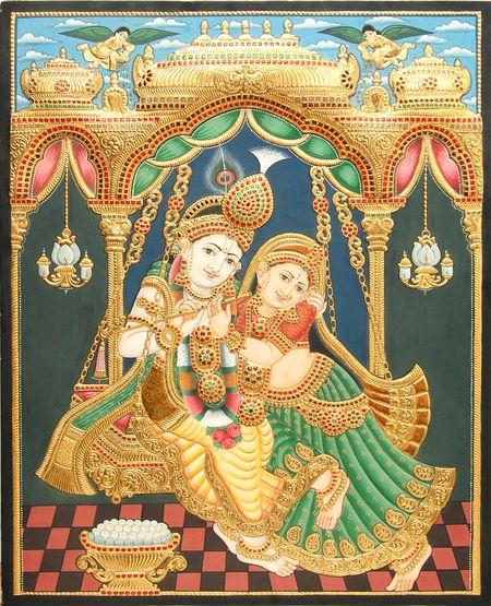 Tanjore Paintings - Antique Swing Radha Krishna Embossed