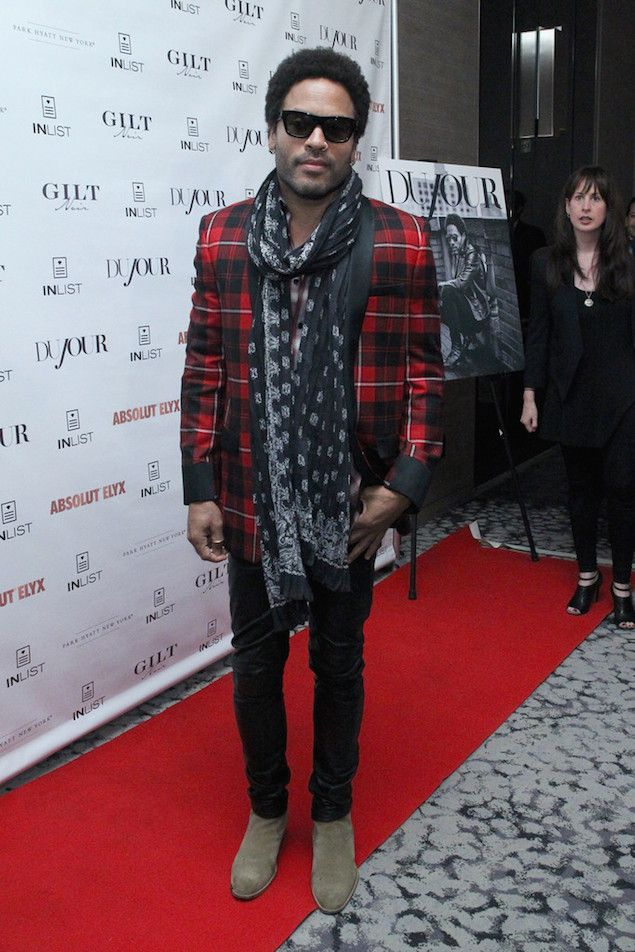 Lenny Kravitz wears Saint Laurent Plaid Coat at Dujour Magazine Party | UpscaleHype