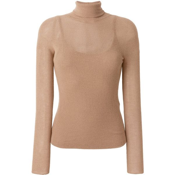 Max Mara turtleneck jumper ($695) ❤ liked on Polyvore featuring tops, sweaters, nude, jumper tops, cashmere turtleneck sweaters, turtle neck top, cashmere jumpers and cashmere sweater